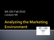 BA 320 Lecture 4 Analyzing the Marketing Environment2