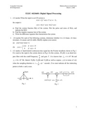 Sample midterm Exam1 for Digital Signal Processing