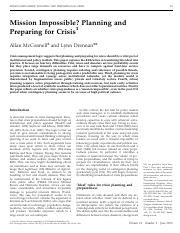 McConnell, A. & Drennan2006Mission impossible Planning and preparing for crisis