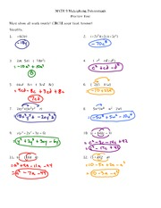Multiplying Polynomials Review Test