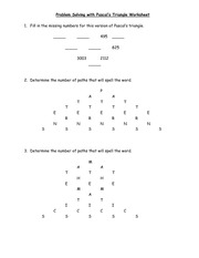 Problem Solving with Pascal's Triangle Worksheet