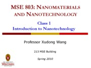 Lecture 1 - Intro to nanotechnology