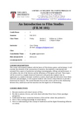 An Introduction to Film Studies FILM 101 course outline