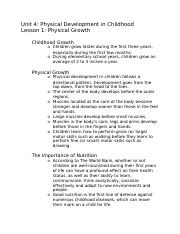 (Notes) Unit 4 - Physical Development in Childhood.docx