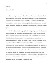 Refection 2 - Duckworth Lecture Essay