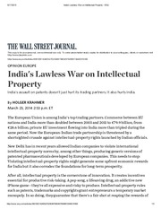 India's Lawless War on Intellectual Property - WSJ