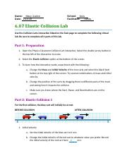6 07 Elastic Collision Lab Pdf Name U200b U2002nataly Musacchia