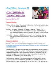 Seminar 3B - Contemporary Infant Health