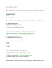FIN 221 Chapter 8 Practice Quizzes and Answers