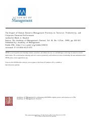 The impact of human resource management practices on turnover, productivity, and corporate financial