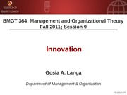 BMGT 364 Session 9 - Innovation