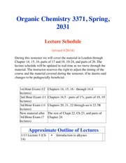 CHEM 3371 Lecture and Exam Schedule