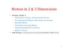 4 Motion in 2 and 3D