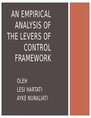An empirical analysis of the levers of control