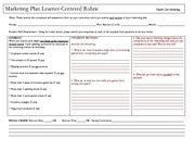 Marketing Plan Learner Centered Rubric