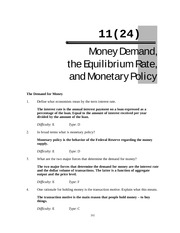 Chapter11 Money Demand, equilbrium rate and Monetary policy