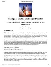 Space Shuttle Challenger Disaster 1986 - Post Mortem
