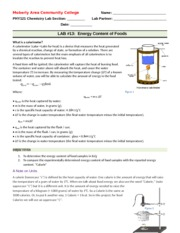 PHY121 LAB 13 Energy Content of Foods