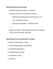 Data Mining with Privacy Notes