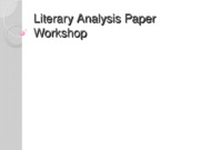 Literary Analysis Paper Workshop