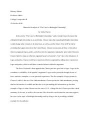 Rhetorical essay brittney palmer professor atkins college