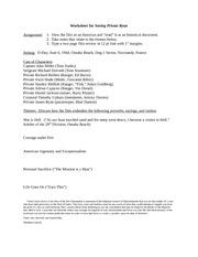 Worksheet for Saving Private Ryan Drake University HIST 002 - Summer ...