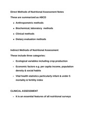 Direct Methods of Nutritional Assessment Notes