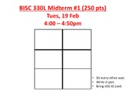 BISC 330L 2013 Midterm 1 Room Assignments