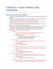 CHAPTER 8 – AUDIT EVIDENCE AND ASSURANCE