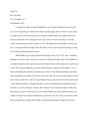 Warriors Don't Cry_ Character Analysis Essay - Jada Cook.docx