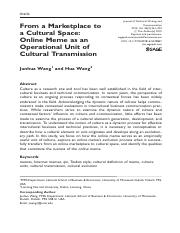 From a Marketplace to a Cultural Space-Online Meme as an Operational Unit of Cultural Transmition.pd