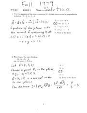 1999 Calc 3- Exam 1 Solutions
