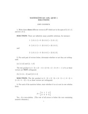 MATH 1105 Fall 2009 Quiz 1 Version 1 Solutions