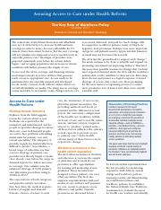 Assuring Access to Care underHealth Reform.pdf