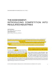 Helm and Jenkinson (1997) The Assessment Introducing Competition into Regulated Industries.pdf