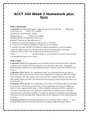 ACCT 344 Week 2 Homework plus Quiz