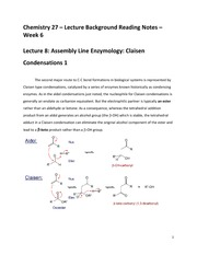 CHEM 27 Spring 2015 Lecture Background Reading Notes - Week 6 - Lecture 8 and Lecture 9