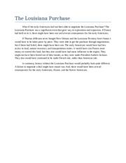 Louisiana purchase essay