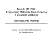 ME1331 Manufacturing lecture 1