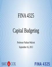 Lecture 4 - Capital Budgeting
