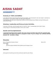COLA 10 Resume Template - Aisha Sadat