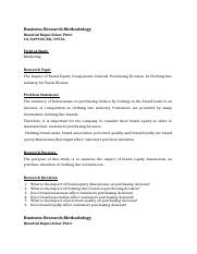 Business Research Methodology - Problem statement-2