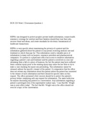 HCR 220 Week 2 Discussion Question 1