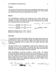 recrystallization and melting point lab report If the melting point of a pure compound is within a degree of the value found a lab  handbook it is presumed to be pure a sample is impure if it has a melting.