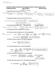 Problems on Moles, Percentages, Formulas 09-105 8-31 09-105 F 15 ...