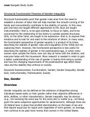 Structural Functionalist Theories of Gender Inequality Research Paper Starter - eNotes