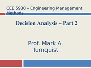 CEE 5930 Decision Analysis Part 2 -- Fall 2014
