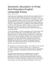 Semantic Deviation In Pride And Prejudice English Language Essay.docx