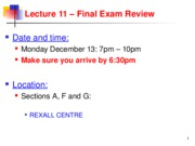 Lecture 11 Final Exam Review