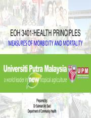 EOH 3401 7 Measures of mortality and morbidity